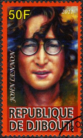 DJIBOUTI - CIRCA 2011: A stamp printed in Republic of Djibouti shows John Ono Lennon, a singer, circa 2011