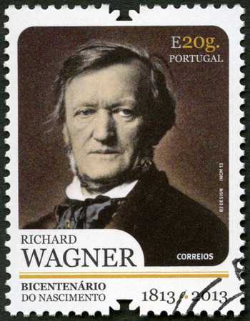 melodist: PORTUGAL - CIRCA 2013: A stamp printed in Portugal shows portrait of Richard Wagner (1813-1883), German composers, circa 2013