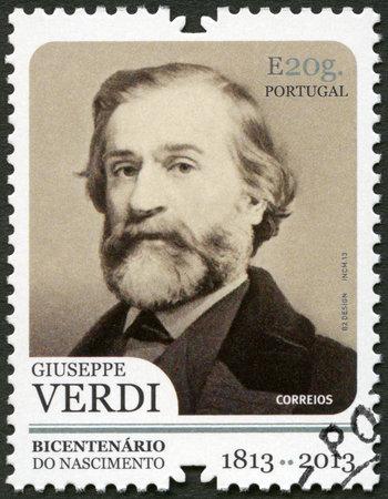 composer: PORTUGAL - CIRCA 2013: A stamp printed in Portugal shows portrait of Giuseppe Verdi (1813-1901), Italian composer, circa 2013 Editorial