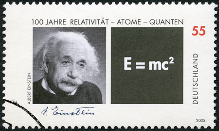 einstein: GERMANY - CIRCA 2005: A stamp printed in Germany shows Albert Einstein (1879-1955) and Equation of his Theory of Relativity, circa 2005