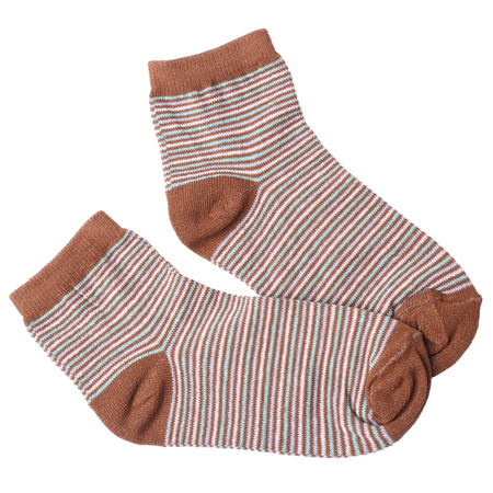 child's: Pair of childs striped socks isolated on white background Stock Photo