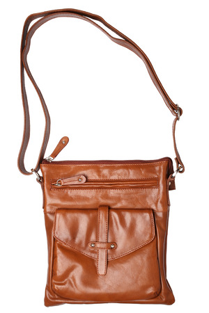 dolly bag: Brown leather handbag isolated on white background