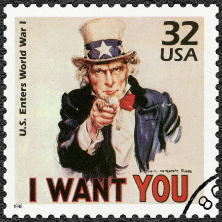 sam: UNITED STATES OF AMERICA - CIRCA 1998: A stamp printed in USA shows Uncle Sam, U.S. enters World War I, series Celebrate the Century, 1910s, circa 1998