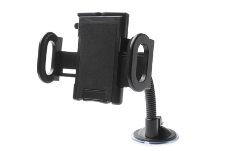 microcomputer: Car phone holder on white background Stock Photo