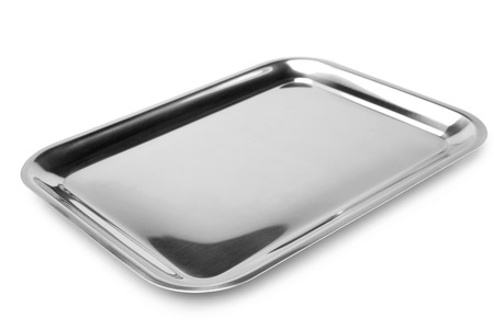 silver metal: Serving tray on white background Stock Photo