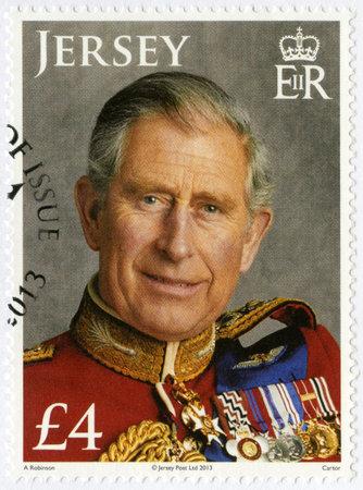 prince charles of england: JERSEY - CIRCA 2013: A stamp printed in Jersey shows Charles, Prince of Wales, 65th Birthday, circa 2013