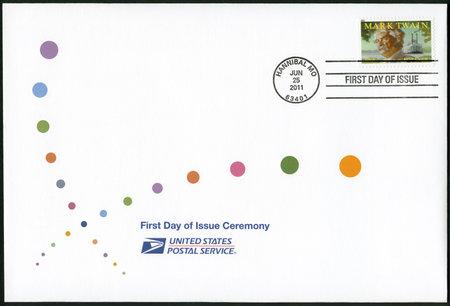 twain: UNITED STATES OF AMERICA - CIRCA 2011: A stamp printed in USA shows Mark Twain (1835-1910), circa 2011