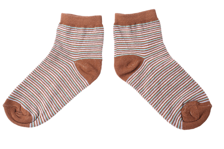 childs: Pair of childs striped socks isolated on white background Stock Photo