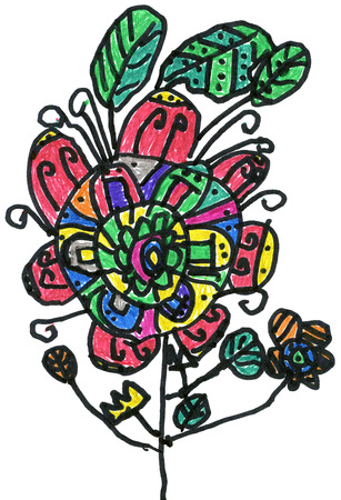 many coloured: Multicoloured flower, childrens hand painted picture Stock Photo