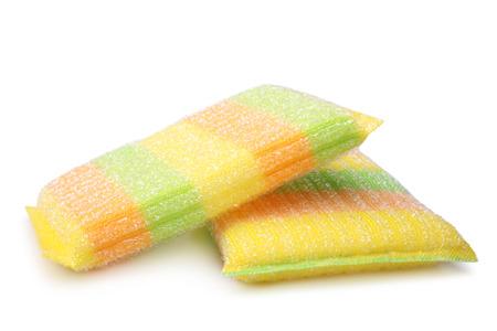 Sponge for washing dishes on white background