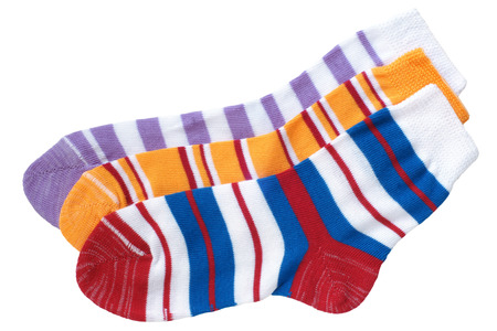 Childs striped socks isolated on white background photo