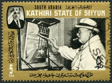 aden: SOUTH ARABIA - CIRCA 1966: A stamp printed in South Arabian Federation Aden Kathiri State of Seiyun shows Sir Winston Churchill as painter, circa 1966 Editorial
