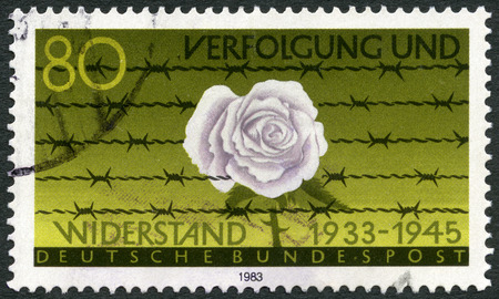 persecution: GERMANY - CIRCA 1983: A stamp printed in Germany devoted Persecution and Resistance (1933-1945), circa 1983
