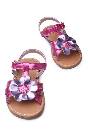 footgear: Baby girl sandals on white background