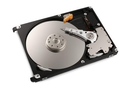 Hard disk on white background photo