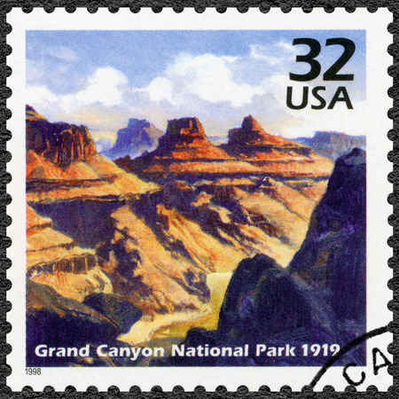 UNITED STATES OF AMERICA - CIRCA 1998: A stamp printed in USA shows Grand Canyon National Park, 1919, series Celebrate the Century, 1910s, circa 1998