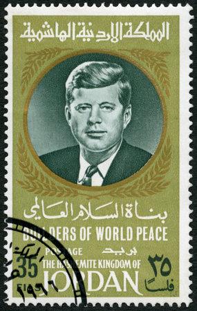 john fitzgerald kennedy: JORDAN - CIRCA 1967: A stamp printed in Jordan shows Portrait of John F. Kennedy (1917-1963), circa 1967 Editorial