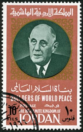 gaulle: JORDAN - CIRCA 1967: A stamp printed in Jordan shows Portrait of Charles Andre Joseph Marie de Gaulle (1890-1970), series Builders of World Peace, circa 1967