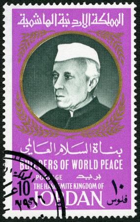 assassinated: JORDAN - CIRCA 1967: A stamp printed in Jordan shows Portrait of Jawaharlal Nehru (1889-1964), series Builders of World Peace, circa 1967
