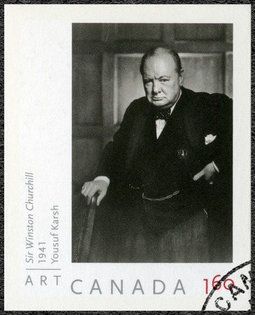 minister of war: CANADA - CIRCA 2008: A stamp printed in Canada shows Sir Winston Churchill (1874-1965), portrait  photographer by Yousuf Karsh, 1941, circa 2008