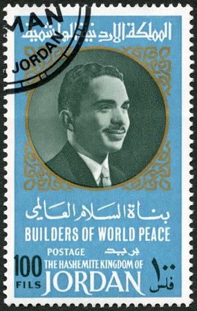 king hussein: JORDAN - CIRCA 1967: A stamp printed in Jordan shows Portrait of King Hussein of Jordan (1935-1999), series Builders of World Peace, circa 1967