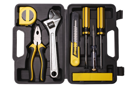 Tool case with tools isolated on white background photo