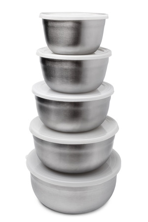 tupperware: Stack of food metallic containers on white background