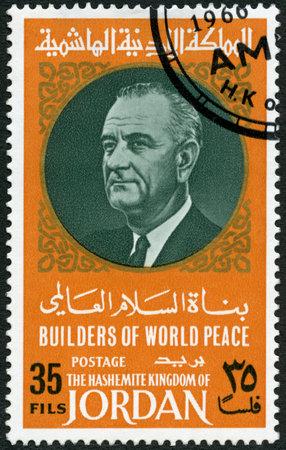 assassinated: JORDAN - CIRCA 1967: A stamp printed in Jordan shows Portrait of Lyndon Baines Johnson (1908-1973), series Builders of World Peace, circa 1967 Editorial