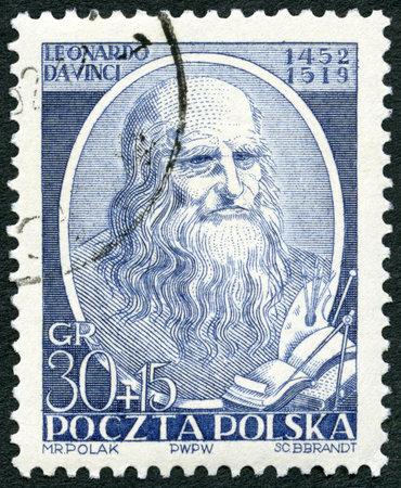 POLAND - CIRCA 1952: A stamp printed in Poland shows Leonardo di ser Piero da Vinci (1452-1519), 500th birth anniversary of Leonardo da Vinci, circa 1952