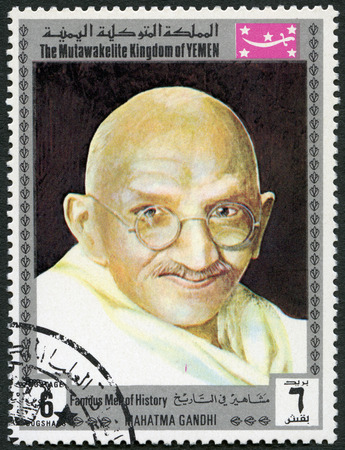 KINGDOM OF YEMEN - CIRCA 1969: A stamp printed in Mutawakkilite Kingdom of Yemen shows portrait of Mohandas Karamchand Gandhi (1869-1948), series famous men of history, Mahatma Gandhi, circa 1969 Editorial