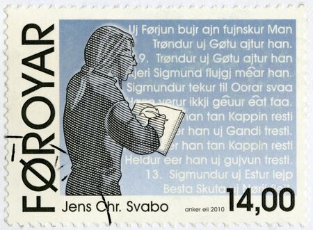 postmail: FAROE ISLANDS - CIRCA 2010: A stamp printed in Faroe Islands shows Jens Christian Svabo, linguist, circa 2010