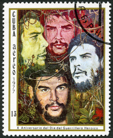 guerrilla: CUBA - CIRCA 1977: A stamp printed in Cuba shows Guerrilla fighters, dedicated 10th anniversary Heroic Guerrillas Day, circa 1977