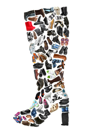 Top boot made of various shoes on white background photo