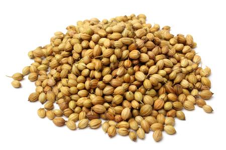 Coriander seeds on white background
