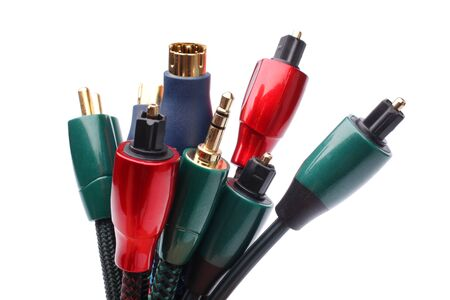 Group of audiovideo cables isolated on a white background photo