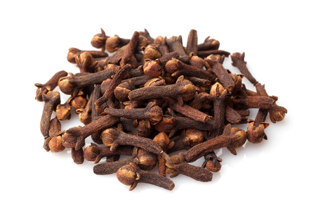 clove of clove: Dried cloves on white background Stock Photo