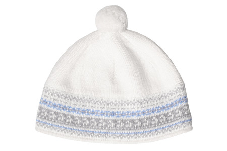 pompon: Warm woolen knitted hat with pompon isolated on white background