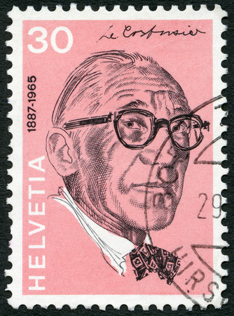 helvetia: SWITZERLAND - CIRCA 1972: A stamp printed in Switzerland shows Le Corbusier (Charles Edouard Jeanneret Gris) (1887-1965), architect, series Portraits and Signatures, circa 1972 Editorial