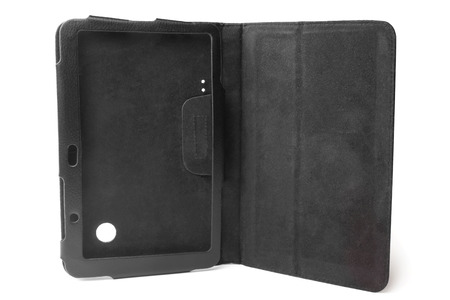 computer case: Black leather tablet computer case on white background