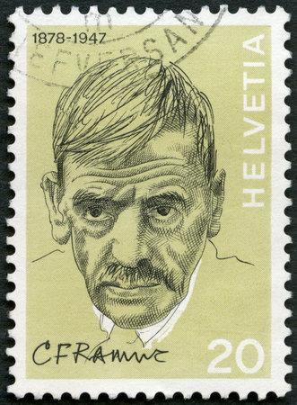 ferdinand: SWITZERLAND - CIRCA 1972: A stamp printed in Switzerland shows Charles Ferdinand Ramuz (1878-1947), writer, series Portraits and Signatures, circa 1972