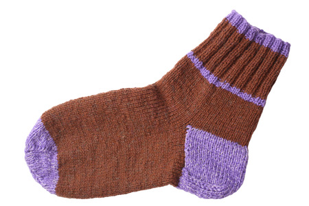 woollen: Woollen knitted sock isolated on white background