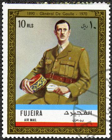fujeira: FUJAIRAH - CIRCA 1972: A stamp printed in Fujairah shows Charles de Gaulle  (1890-1970), circa 1972