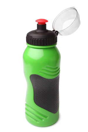 water vehicle: Sport plastic water bottle on white background