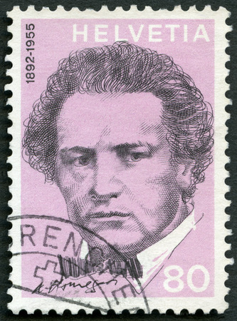 oscar: SWITZERLAND - CIRCA 1972: A stamp printed in Switzerland shows Oscar Arthur Honegger (1892-1955), composer, series Portraits and Signatures, circa 1972