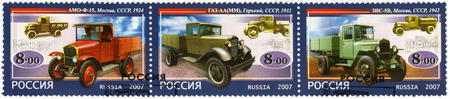 motorcars: RUSSIA - CIRCA 2007: A stamp printed in Russia dedicated the history of Russian motor-cars, the first native trucks, circa 2007