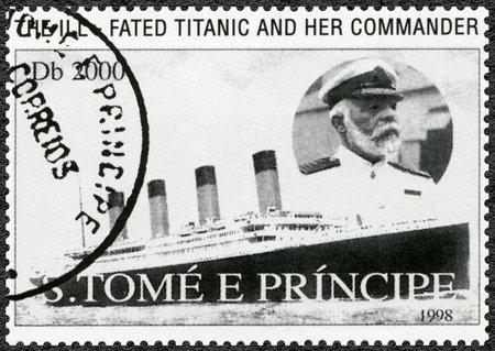 st mark: ST. THOMAS AND PRINCE ISLANDS - CIRCA 1998: A stamp printed in St.Thomas and Prince Islands shows Captain Edward John Smith and Titanic, circa 1998