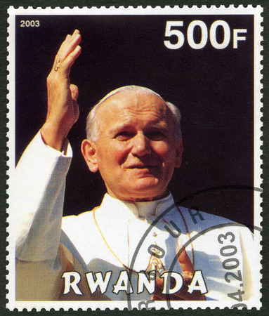 ii: RWANDA - CIRCA 2003: A stamp printed in Rwanda shows Pope John Paul II - 25th Anniversary of the Pontificate, circa 2003