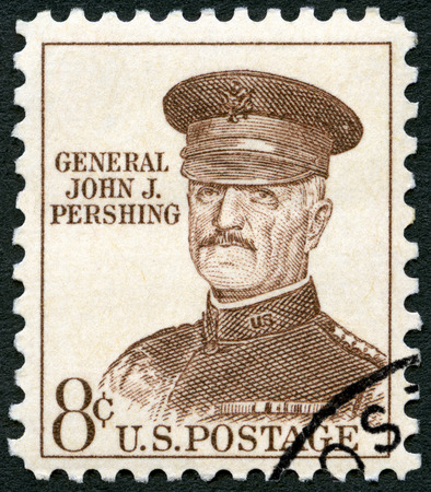 expeditionary: UNITED STATES OF AMERICA - CIRCA 1961: A stamp printed in USA shows portrait of John Joseph Pershing Black Jack (1860-1948), general, circa 1961