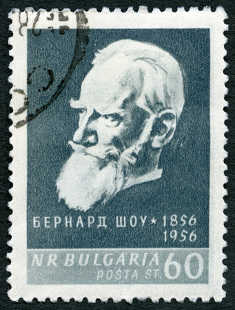 dramatist: BULGARIA - CIRCA 1956: A stamp printed in Bulgaria shows portrait of  George Bernard Shaw (1856-1950), series Great personalities of the world, circa 1956