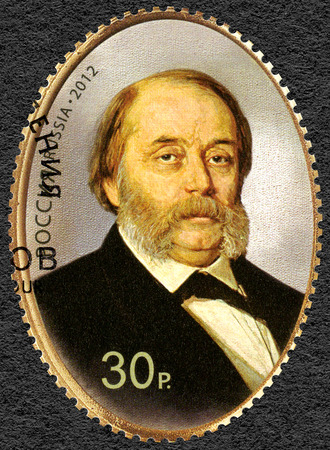ia: RUSSIA - CIRCA 2012: A stamp printed in Russia dedicated the 200th birth anniversary of I.A. Goncharov (1812-1891), a writer, portrait by I. Kramskoi, circa 2012